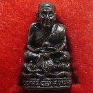 LP TUAD LEGEND MONK ON COBRA SNAKE THAI MINI BLACK AMULET BUDDHA BLESS & SUCCESS