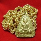 LP NGERN POWERFUL THAI BUDDHA AMULET CALL MONEY & GOOD LUCK GOLD PLATED NECKLACE