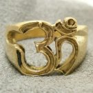 OM OHM AUM BRASS MEN RING HINDU TRIMURTI HOLY GOD PRANAVA LUCKY & SUCCESS AMULET