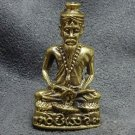 THAI MINI BRASS AMULET MAGIC HERMIT LERSI RIDE KING COBRA SNAKE LIFE PROTECTION