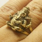 BRASS MEN RING OM SHRI GANESH LORD GANESHA GOD HINDU AMULET SUCCESS WIN OBSTACLE