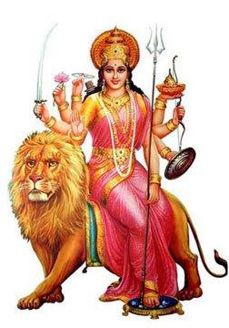 DURGA PENDANT PARVATI KALI UMA DEVI LION BRASS AMULET GODDESS SHAKTI HINDU DEITY
