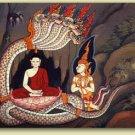 PHAYA NAK REAL THAI MINI BRASS AMULET POWERFUL NAGA SNAKE BUDDHA LIFE PROTECTION