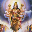 HINDU GODDESS AMULET PENDANT & GOLD PLATED NECKLACE DURGA UMA DEVI PARVATI KALI