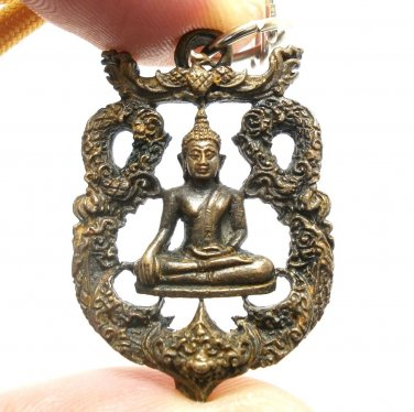THAI LORD BUDDHA BEAUTIFUL ART CRAFT BRASS AMULET PENDANT LUCKY SUCCESS NECKLACE