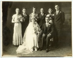 Depression-Era Wedding Party Photograph