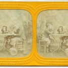 French Tissue Stereoview of Boys Playing Cards