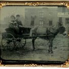 Tintype of a Couple on a Horse and Carriage