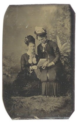 Women Reading a Document Tintype