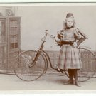 Non-Pneumatic Bicycle and a Girl Cabinet Card