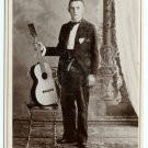 Young Man and His Guitar Cabinet Card