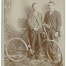 Cabinet Card of Two Men and a Bicycle