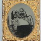 Baby in Pram with Checked Blanket Ambrotype
