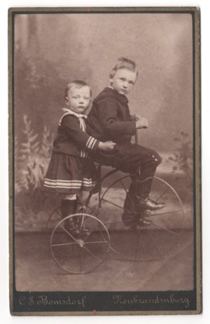 Young Children on a Tricycle CDV