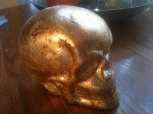 Spectacular Gold Leafed Skull