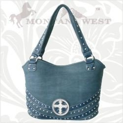 Cowgirl Western Shoulder Handbag Purse Cross on front Blue, Brown, Grey, Coffee