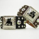 Cowgirl Western Leather Hair On Hide Bracelets with Barrel Racing Conchos