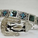 Blinged Out Western Cowgirl Belt Prism Cut Rhinestones Cross Conchos S M L XL