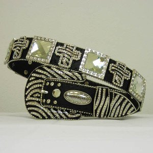 Beautiful Blinged Out Cowgirl Zebra Striped Belt Cross Concho S M L XL