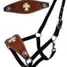 Black BRONC Halter Leather Nose Band  White Cross Image & Cross Conchos