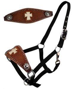 Black BRONC Halter Leather Nose Band  White Cross Image & Cross Conchos