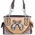 Cowgirl Western Drop Shoulder Blinged Out Tan Handbag with Crossed Guns