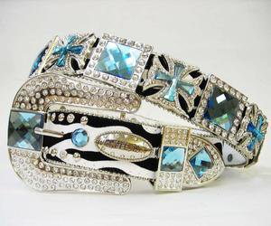 Beautiful Blinged Out Cowgirl Zebra Striped Belt Maltese Cross Conchos