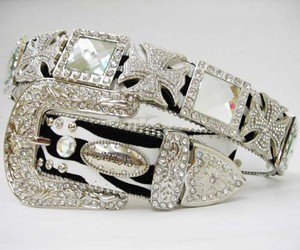 Beautiful Blinged Out Cowgirl Western Zebra Striped Belt Maltese Cross Conchos