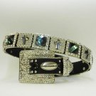 Beautiful Blinged Out Cowgirl Western Belt Prism Cut Rhinestones Cross Conchos