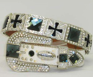 Beautiful Blinged Out Cowgirl White Belt Blue Rhinestones Cross Conchos