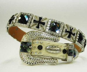 Beautiful Blinged Out Cowgirl Belt Hair on Hide Blue Rhinestones Cross Conchos