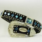 Blinged Out Cowgirl Western Hair On Hide Belt - Blue Rhinestones  & Conchos