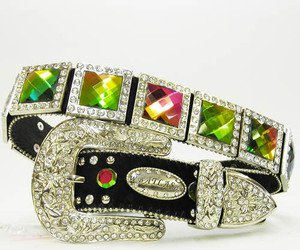 Womens Volcano Stone Crystal Concho Blinged Out Belt