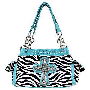 Womens Blinged Out Turquoise Black Zebra Striped Rhinestone Cross Handbag Purse