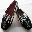 Cowgirl Comfort Slip On Shoes Zebra Striped Black and White Crosse On Toe
