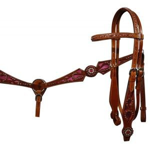 Double Stitched Leather Filigree Headstall & Breastcollar With colored Inlay