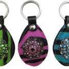 Zebra Striped Key Chains by Showman - Rhinestone Accents - Blue, Pink, Green