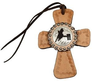 Tie On Leather Cross with Barrel Racing Concho - All Leather - Silver Beading