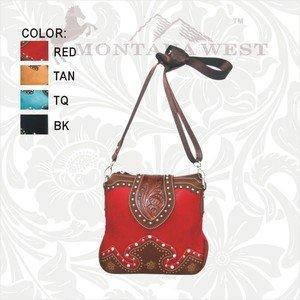 Montana West Messenger Handbag, Buckstitch Trim, Rhinestones, Red, Brown, Black