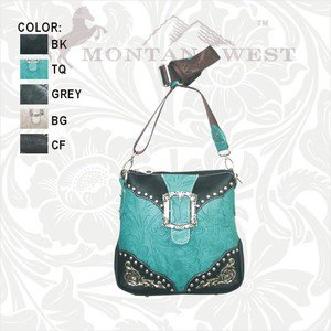 Montana West Messenger Handbag Leaf Pattern Faux Leather, Buckle, Rhinestones