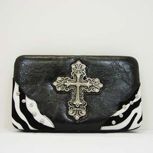 Hard Case Wallet, Black with Zebra Striped Edges Rhinestone Studded Cross Emblem