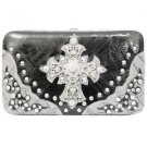 Hard Case Wallet, Pink or Black, Rhinestones, Cross, Matching Handbag Available