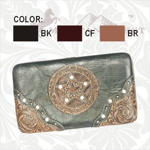 Montana West Hard Case Wallet - Tooled - Rhinestones - Brown Only