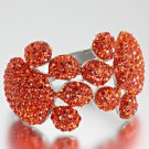 Blinged Out Rhinestone Encrusted Dog Paw Orange Bracelet