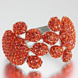 Blinged Out Rhinestone Encrusted Dog Paw Orange Bracelet