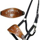 BLACK BRONC HALTER LEATHER NOSEBAND COWGIRL UP ETCHED IN WHITE