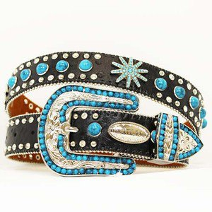 Blinged Out Western Cowgirl Black Belt Turquoise Studded Spur Conchos