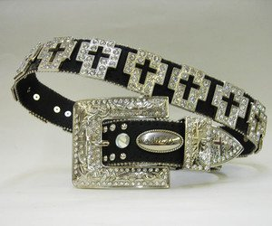 Womens Blinged Out Black Western Belt with Cross Conchos Rhinestone Encrusted