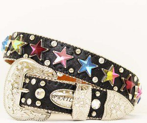 Cowgirls Kids Size Blinged Out Belt  With Multi Colored Star Conchos Flashy