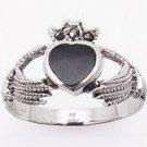Claddagh Marcasite & Onyx Ring